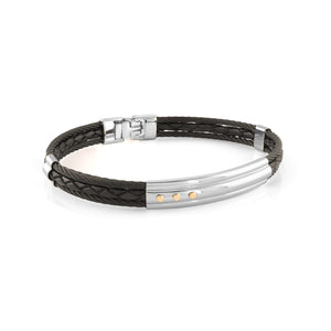 Onyx Steel & Leather Bracelet Onyx - Adina's Jewels