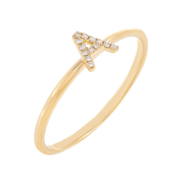 Diamond Pavé Initial Ring 14K