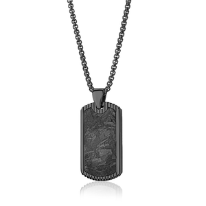 Onyx Carbon Fiber Dog Tag Necklace-Men - Adina's Jewels