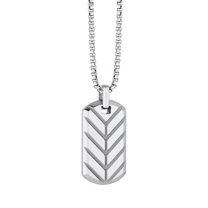 Chevron Dog Tag Necklace Silver - Adina's Jewels