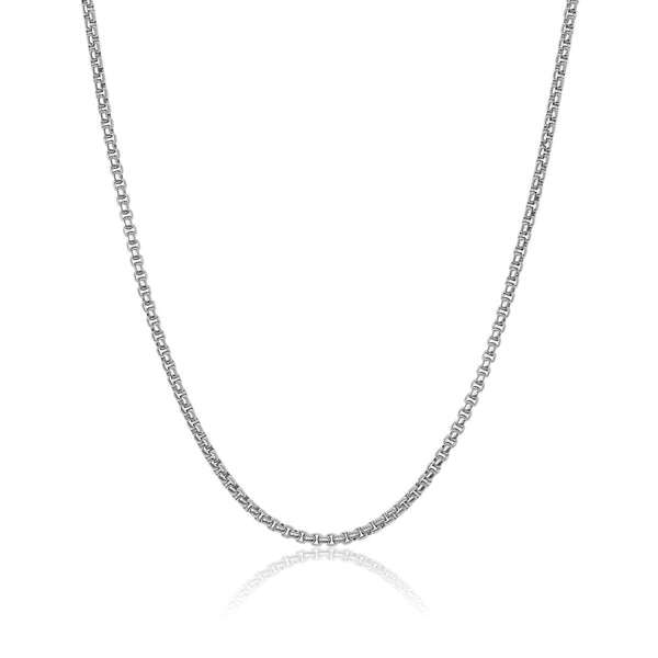 Silver Men's Round Box Chain - Adina's Jewels