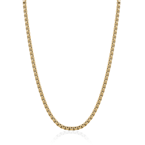 Gold Round Box Chain Necklace - Adina's Jewels
