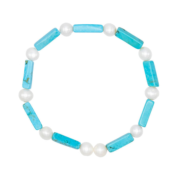 Pearl White Turquoise Pearl Bracelet - Adina's Jewels