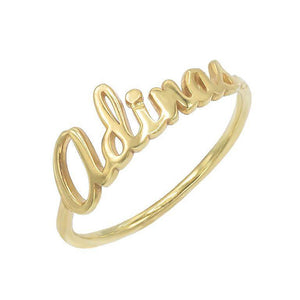 Gold / 5 Script Name Ring - Adina's Jewels