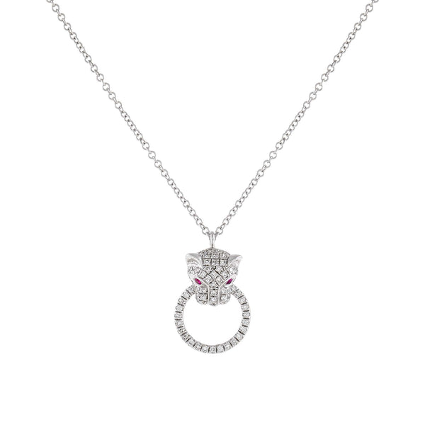 14K White Gold Diamond Ruby Panther Necklace 14K - Adina's Jewels