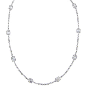 14K White Gold Diamond Multi-Illusion Tennis Necklace 18K - Adina's Jewels
