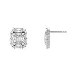 Silver CZ Illusion Baguette Stud Earring - Adina's Jewels