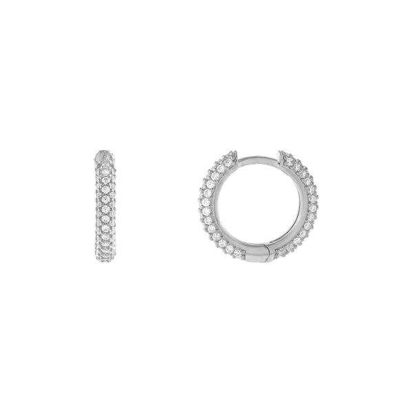 Silver Wide Pavé Huggie Earring - Adina's Jewels