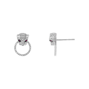 14K White Gold Diamond Ruby Panther Stud Earring 14K - Adina's Jewels
