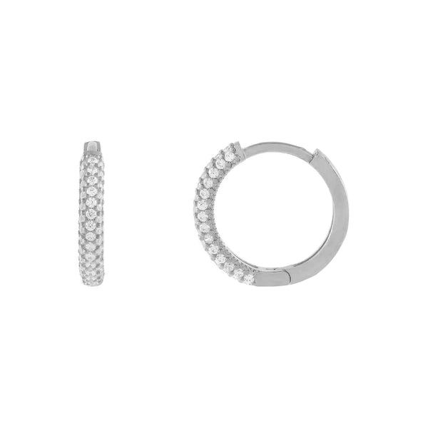 Silver Thin Pavé Huggie Earring - Adina's Jewels