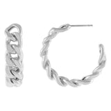 Silver Chunky Cuban Chain Hoop Earrings - Adina's Jewels
