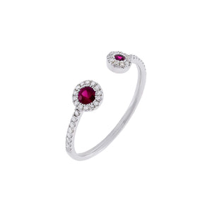 Magenta Diamond Colored Double Stone Ring 14K - Adina's Jewels