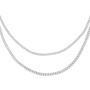 Silver Double Chain Cuban Necklace - Adina's Jewels