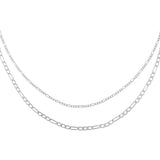 Silver Double Chain Figaro Necklace - Adina's Jewels