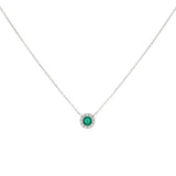 Emerald Green Diamond Colored Circle Necklace 14K - Adina's Jewels
