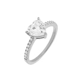Silver / 5 Pavé Heart Stone Ring - Adina's Jewels