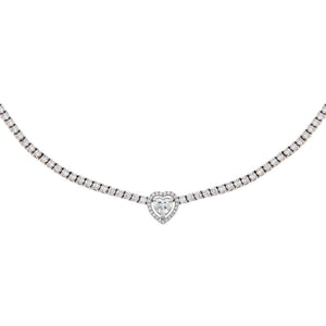 14K White Gold Diamond Illusion Heart Tennis Necklace 18K - Adina's Jewels
