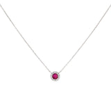 Magenta Diamond Colored Circle Necklace 14K - Adina's Jewels