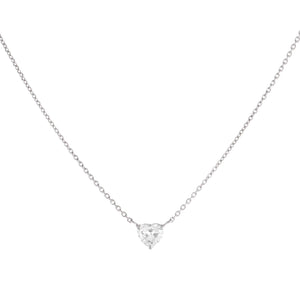 14K White Gold Mini Diamond Heart Necklace 14K - Adina's Jewels