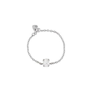 14K White Gold Diamond Oval Chain Ring 14K - Adina's Jewels