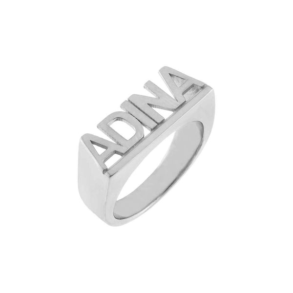 Silver / 5 Block Letter Nameplate Ring - Adina's Jewels