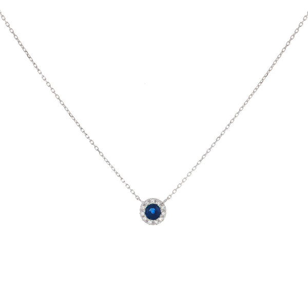 Sapphire Blue Diamond Colored Circle Necklace 14K - Adina's Jewels