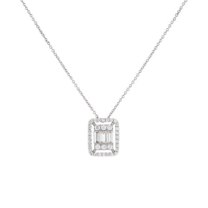 14K White Gold Diamond Illusion Baguette Necklace 14K - Adina's Jewels