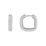 Silver Pavé Round Square Huggie Earring - Adina's Jewels