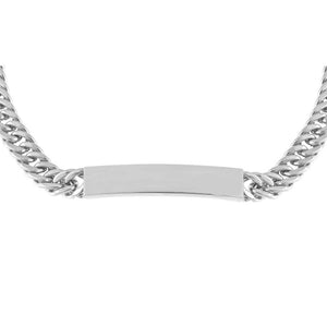 Silver Engraved Hollow Cuban Curb Bar Chain Choker - Adina's Jewels