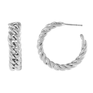 Silver Chunky Double Curb Chain Hoop Earring - Adina's Jewels