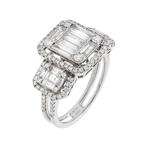 14K White Gold / 7 Diamond Illusion Ring 14K - Adina's Jewels