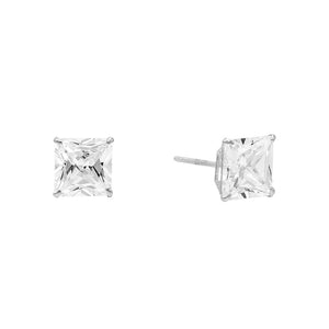 14K White Gold / 3 MM / Pair Princess Cut Stud Earring 14K - Adina's Jewels
