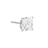 14K White Gold / 2 MM / Single Princess Cut Stud Earring 14K - Adina's Jewels