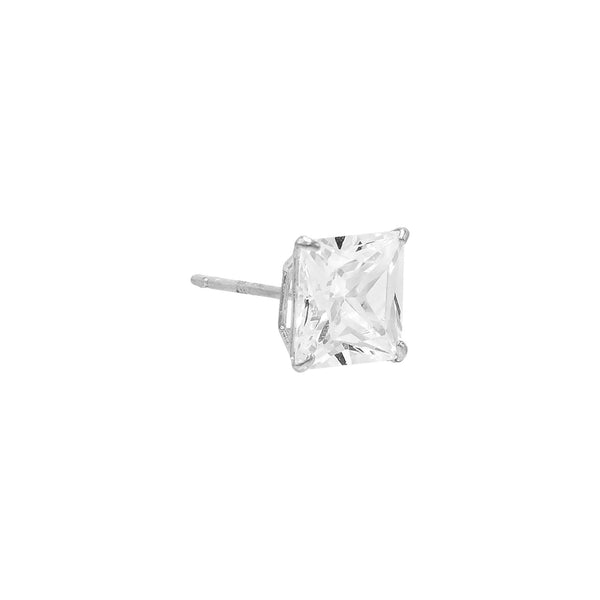 14K White Gold / 4 MM / Single Princess Cut Stud Earring 14K - Adina's Jewels