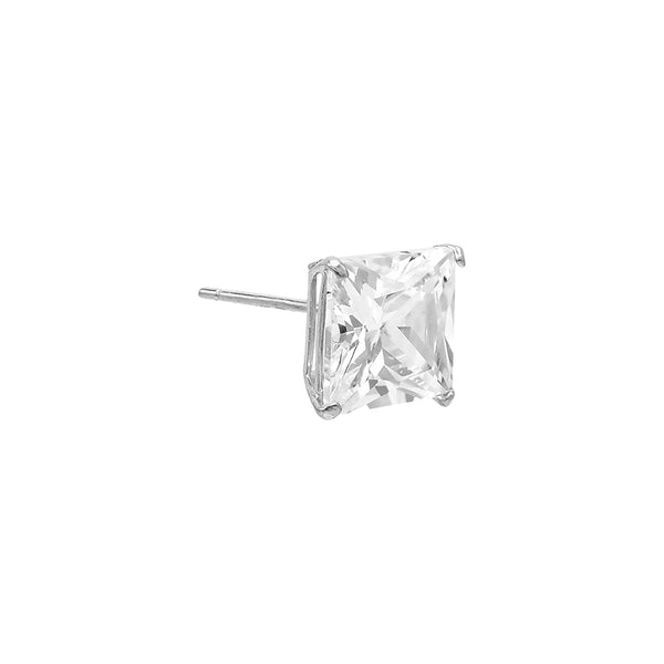 14K White Gold / 7 MM / Single Princess Cut Stud Earring 14K - Adina's Jewels