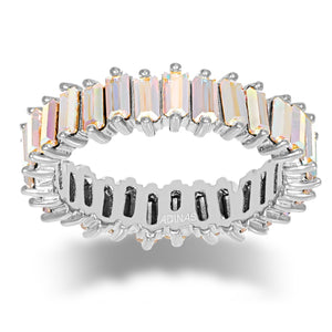Crystal Iridescent Eternity Band Silver / 5 - Adina's Jewels