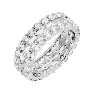 Silver / 7 Round X Baguette Ring - Adina's Jewels