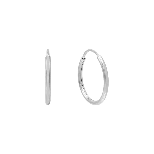 14K White Gold / 10 MM Endless Hoop Earring 14K - Adina's Jewels