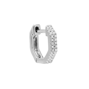 14K White Gold Diamond Octagon Double Row Huggie Earring 14K - Adina's Jewels