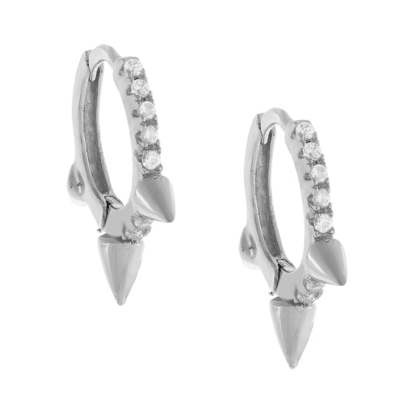 Pavé Triple Spike Huggie Earring  - Adina's Jewels