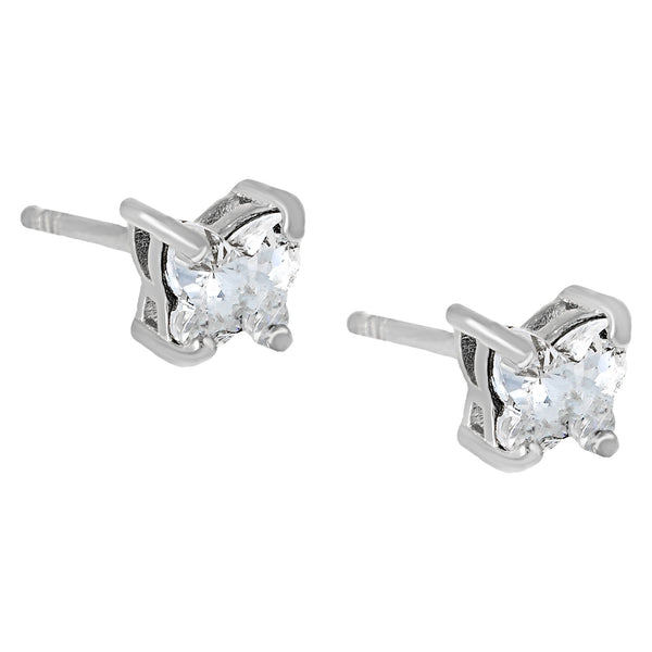 Crystal Butterfly Stud Earring Silver - Adina's Jewels