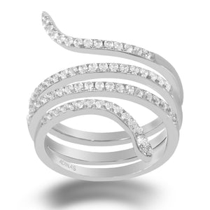 Pavé Spiral Ring Silver / 6 - Adina's Jewels