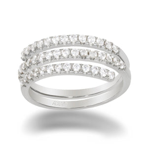 Pavé Multi Wrap Ring Silver / 6 - Adina's Jewels