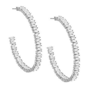 Baguette Large Open Hoop Earring Silver - Adina's Jewels
