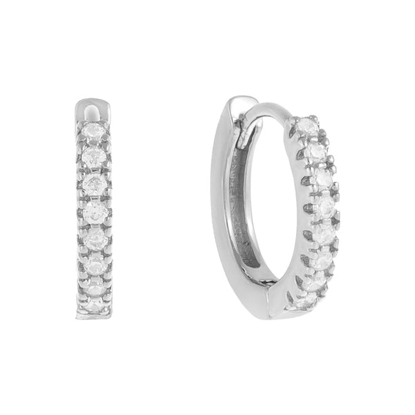 Silver / 12 MM CZ Mini Huggie Earring - Adina's Jewels