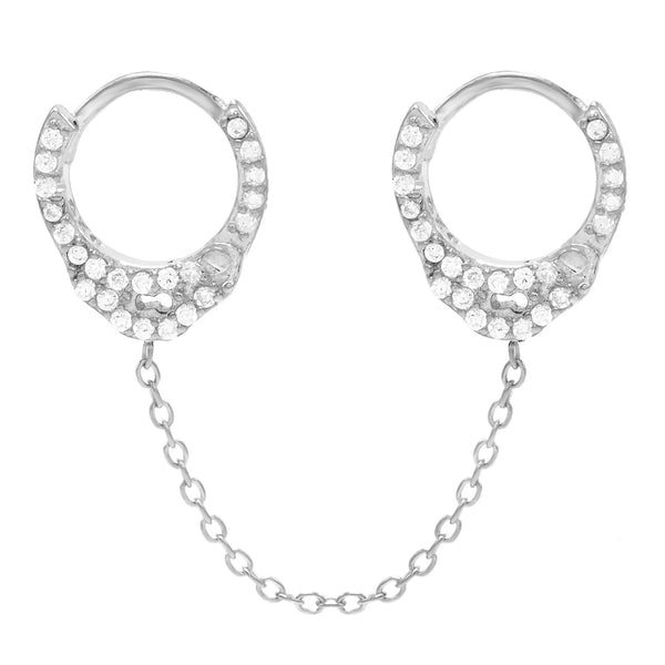 Silver / Single CZ Handcuff Chain Huggie Earring - Adina's Jewels