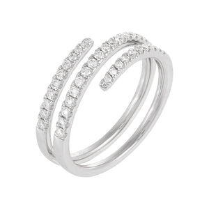 Diamond Triple Wrap Ring 14K 14K White Gold / 6.5 - Adina's Jewels