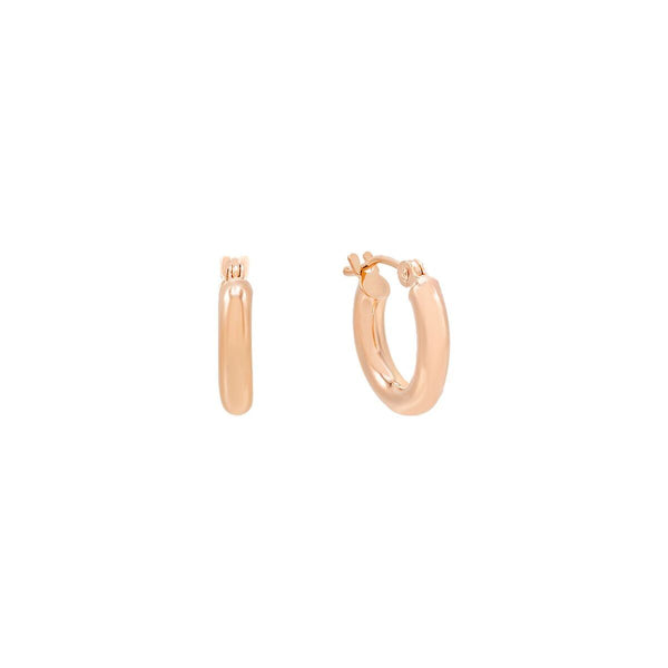 14K Rose Gold / 15 MM Hollow Hoop Earring 14K - Adina's Jewels