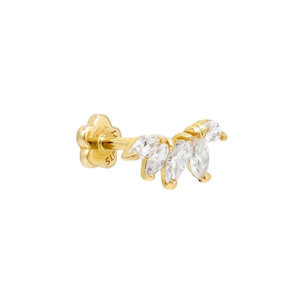 14K Gold / Single Marquise Threaded Stud Earring 14K - Adina's Jewels