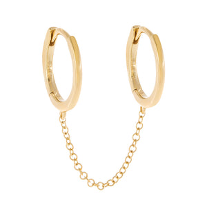 14K Gold Solid Double Chain Huggie Earring 14K - Adina's Jewels
